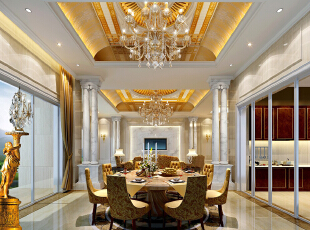 ,800平,200万,欧式,别墅,餐厅,黄色,白色,