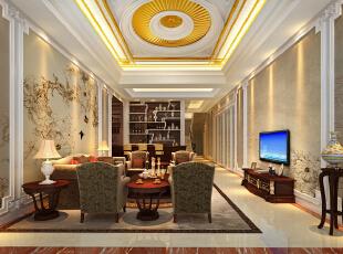 ,800平,200万,欧式,别墅,客厅,黄白,