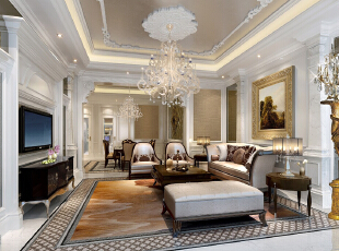 ,300平,150万,欧式,复式,客厅,黄色,白色,