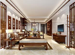 ,260平,90万,中式,大户型,客厅,原木色,白色,