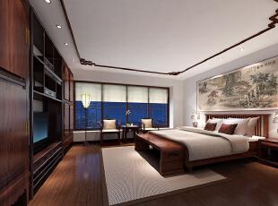 ,260平,90万,中式,大户型,卧室,原木色,白色,
