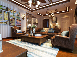 ,139平,15万,中式,三居,餐厅,客厅,美式,新古典,原木色,