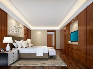 ,245平,80万,现代,大户型,卧室,黄白,原木色,