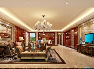 ,235平,120万,欧式,大户型,客厅,黄白,