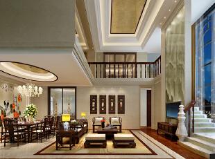 ,400平,100万,中式,复式,客厅,黄白,原木色,