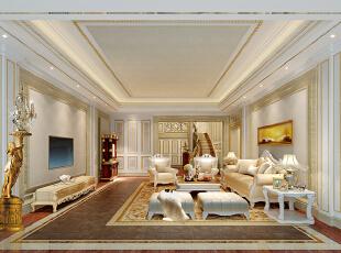 ,320平,180万,欧式,复式,客厅,黄色,白色,