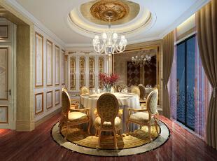 ,320平,180万,欧式,复式,餐厅,黄白,