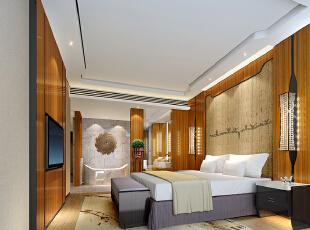 ,360平,120万,现代,大户型,卧室,原木色,白色,