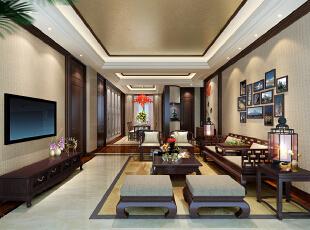 ,225平,80万,中式,大户型,客厅,黄白,原木色,