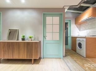 ,69平,9万,宜家,两居,厨房,原木色,浅绿色,白色,