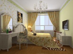,120平,5万,田园,三居,卧室,浅绿色,黄白,