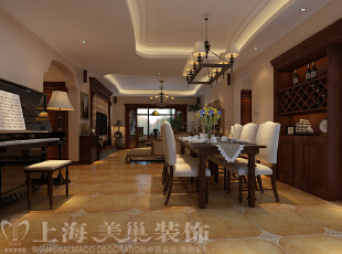 昌建誉峰164平四室两厅美式乡村风格装修案例——客餐厅装修效果图,164平,10万,现代,一居,餐厅,褐色,