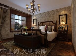 昌建誉峰164平四室两厅美式乡村风格装修方案——主卧装修效果图,164平,10万,现代,一居,卧室,褐色,黄白,