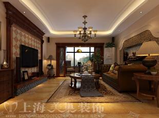 昌建誉峰164平4室2厅美式乡村风格装修样板间——客厅装修效果图,164平,10万,现代,一居,客厅,褐色,黄白,