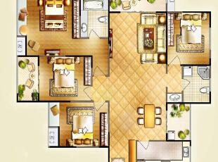 昌建誉峰164平四室两厅美式乡村风格装修户型图,164平,10万,现代,一居,