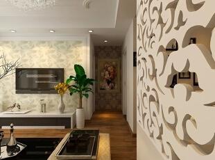 走廊装修效果图,76平,53800万,现代,两居,原木色,简约,客厅,