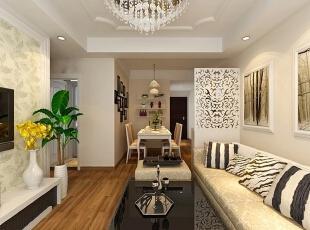 客厅装修效果图,76平,53800万,现代,两居,客厅,简约,黄色,