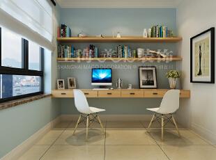 贰号城邦89平三室两厅现代简约装修方案——书房装修效果图,89平,6万,现代,三居,书房,白蓝,