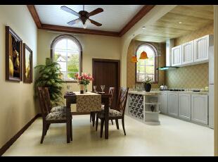 """美式开放的乡村风格让人耳目一新,大量的自然元素和阳光一起营造  出了""""乡村""""氛围:四处摆放的插花、盆栽、草本植物,餐厨合一的开放性  空间,分别采用了来自自然的植物和泥土色调,原木和藤条材质结合的餐桌  椅——无一不散发着自然温暖的光泽…… ,160平,33万,美式,别墅,餐厅,原木色,黄白,"""
