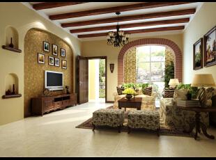 自然大气的实木顶梁、温馨舒适的整体色调体现了主人在追求复古、  典雅的同时,还流露出对自然的向往,一种恬淡、洒脱的生活方式。设计师  正迎合了这一理念,古典中透露着恬淡、浪漫,与自然一体。,160平,33万,美式,别墅,客厅,原木色,黄白,