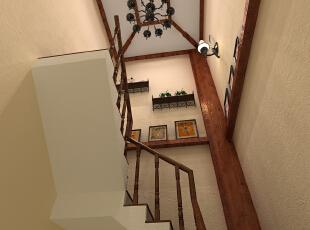 楼梯间暖气管设计师采用船桨似的支柱造型正是设计师的用心独特之  处,成为自然装饰来的支点,正迎合了业主的生活态度,两个人乘着生命之  舟在诺大的海洋中自由航行····,160平,33万,美式,别墅,楼梯,原木色,