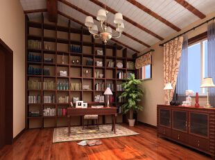 书房是诠释主人修养和学识的空间,代表着业主的荣誉和社会地位,  大气恢弘的木式构造正是说明业主以这种心态赢得了今天的成就,本设计更  注重的是心与心的沟通。  \