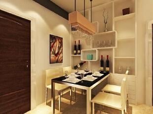 本案运用以简衬繁手法,使得空间显得宽阔而且不空洞,在餐厅墙面运用两条烤漆玻璃来延伸视角,使得空间拉长。,95平,6万,现代,三居,餐厅,咖啡色,白色,