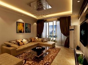 【绿都丹石街区小区95平装修】现代简约风格-沙发背景墙,95平,6万,现代,三居,客厅,棕色,黄白,