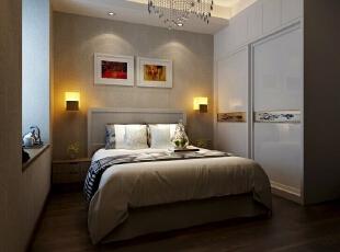 【绿都丹石街区小区95平装修】现代简约风格-卧室,95平,6万,现代,三居,卧室,浅棕色,白色,