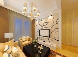 ,44平,4万,现代,一居,客厅,黄色,