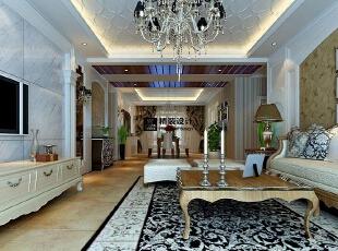 海马壹号公馆183平方三室两厅现代欧式装修效果图 客厅,183平,13万,现代,四居,客厅,棕色,黄白,