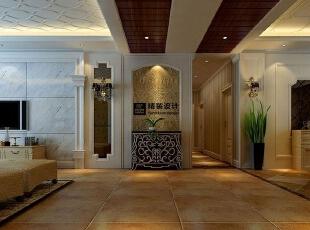 海马壹号公馆183平方三室两厅现代欧式装修效果图 走廊,183平,13万,现代,四居,客厅,黄白,灰色,