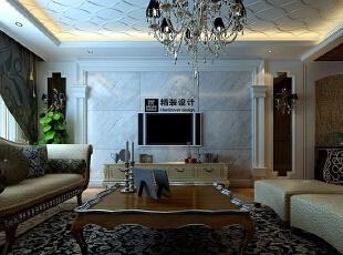 海马壹号公馆183平方三室两厅现代欧式装修效果图 电视背景墙,183平,13万,现代,四居,客厅,黄白,灰色,