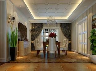 海马壹号公馆183平方三室两厅现代欧式装修效果图 餐厅,183平,13万,现代,四居,餐厅,黄白,