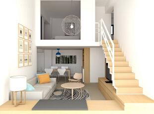 ,85平,9万,现代,Loft,客厅,白色,原木色,