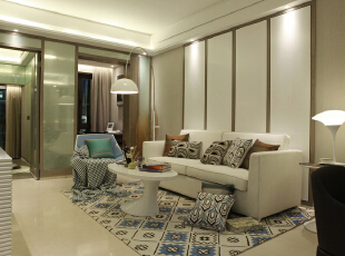 ,62平,10万,现代,两居,客厅,浅棕色,黄白,