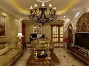 ,160平,8万,欧式,四居,客厅,棕色,黄色,