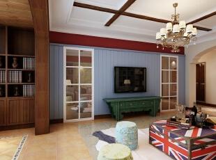 ,138平,10万,美式,三居,客厅,原木色,蓝色,黄色,