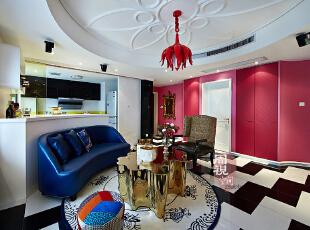 ,混搭,两居,客厅,现代,红色,