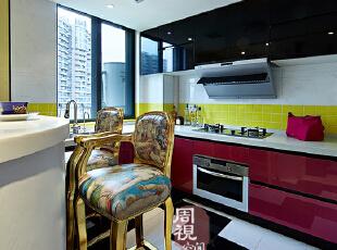 ,混搭,两居,厨房,新古典,红色,