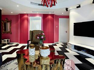 ,混搭,两居,紫色,现代,客厅,