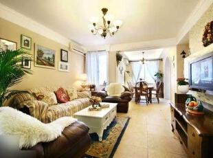 ,120平,17万,欧式,三居,客厅,黄白,浅绿色,