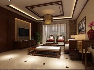 沙发对面整体都做了木质护墙板,只有在电视背景位置留出空间做了一层图片