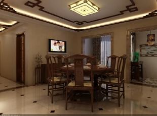 餐厅、顶面全部都是统一的造型装饰,像家具配饰都是中式的元素,但在到门厅和到阳台的垭口采用的大理石包上去的,不影响整体的美观性,190平,24万,中式,三居,餐厅,原木色,黄白,