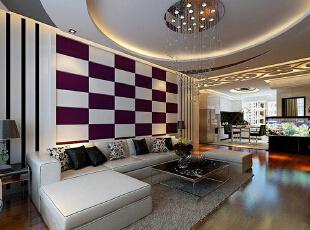 ,156平,11万,简约,三居,客厅,黑白,紫色,