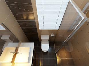 卫生间很明亮所以是可以以深棕色为主,并采用条纹砖,156平,11万,简约,三居,卫生间,棕色,白色,
