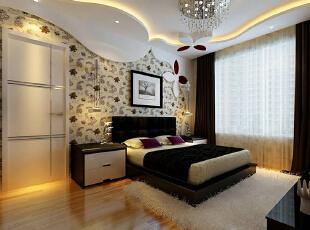 次卧是以花绘图案为模型,设计的床头背景,体现出年轻具有活力的年轻人的起居空间,156平,11万,简约,三居,卧室,春色,黑白,