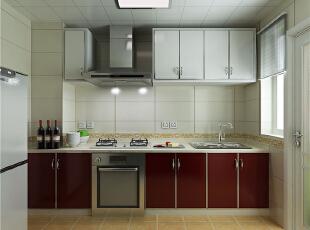 ,98平,42万,现代,两居,黑白,红色,厨房,