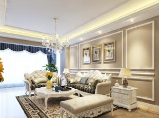 ,109平,24万,欧式,三居,客厅,浅棕色,白色,