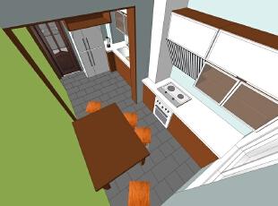 ,118平,12万,中式,两居,厨房,餐厅,原木色,绿色,